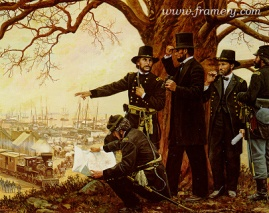 """SUPPORTING VICTORY President Lincoln at City Point, Va., observing the flow of supplies from Gen. Grant's headquarters. Image size 18.5 X 23"""" In stock and available - Call"""
