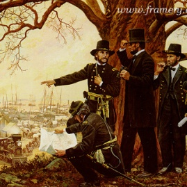 "SUPPORTING VICTORY President Lincoln at City Point, Va., observing the flow of supplies from Gen. Grant's headquarters. Image size 18.5 X 23"" In stock and available - Call"