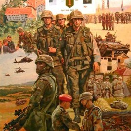 "TASK FORCE FALCON The First Infantry Division in Kosovo as part of Operation Joint Guardian, June 1999. Image size 22 X 18"" In stock and available Current price - $150"