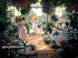 "TEA IN THE CONSERVATORY by Christa Kieffer Print - Image size 22""x 29"" In stock and available - Current price $135"