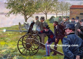 """TESTING THE TOOLS OF WAR President Lincoln looks on as a new machine gun is test fired, late 1861. Image Size: 17 x 23"""" In stock and available Current price - $175"""