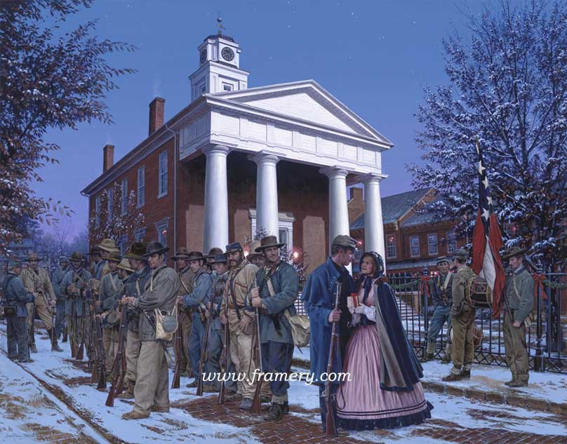 "THE CHRISTMAS GIFT Men of the Stonewall Brigade, Frederick County Courthouse, Winchester, Virginia, Winter of 1862 S/N LE Print Image Size 19 1/2"" x 25"" In stock and available Current price $200"