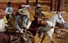"""THE TRAIL CUTTERS Giclee on Hahnemuhle German etching paper signed and numbered by the artist's daughter. Embossed with Don Stivers' signature. Image size: 30"""" X 20 1/2"""" Issue price - $250"""