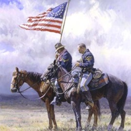 TRIBUTE by Martin Grelle Two cavalrymen pay tribute to all who protect and defend the U.S. In stock and available Print $425