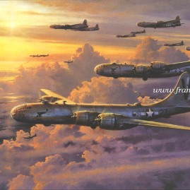 "VALOR IN THE PACIFIC by Robert Taylor Image size: 25 X 34"" B29s of the 499th Bomb Group, 73rd Wing of the 20th Air Force after a daylight raid on Tokyo with Companion Print FORTRESS UNDER ATTACK Image size: 14 X 18"" In stock and available Current price - $350 (for both)"