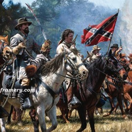 "VENGEANCE AT OKOLONA Maj. Gen. Nathan Bedford Forrest at Okolona, MS, Feb. 22 1864. Enraged by the death of his brother, Forrest charges against Federal troops. Museum Edition Canvas Giclee, 24 X 32"" Current price - CALL"