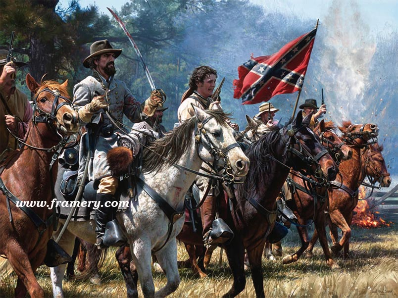 """VENGEANCE AT OKOLONA Maj. Gen. Nathan Bedford Forrest at Okolona, MS, Feb. 22 1864. Enraged by the death of his brother, Forrest charges against Federal troops. Museum Edition Canvas Giclee, 24 X 32"""" Current price - $850"""