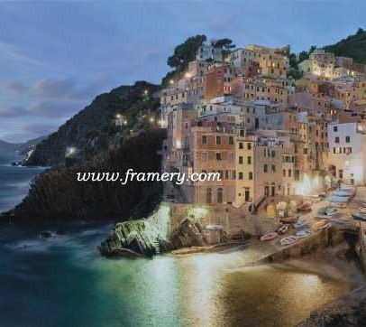 "VIA DEL AMORE by Rod Chase The Italian coast at twilight Giclee on Canvas 24 X 40"" $1100 Print on Canvas 20 X 33"" $450 Print on paper 20 X 33"" $195"