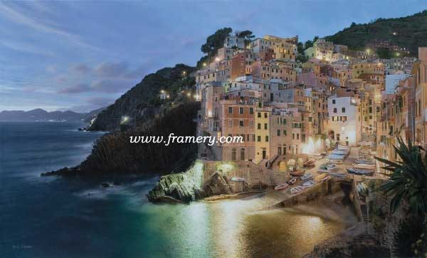"""VIA DEL AMORE by Rod Chase  The Italian coast at twilight  Giclee on Canvas 24 X 40"""" $1100 Print on Canvas 20 X 33"""" $450 Print on paper 20 X 33"""" $195"""