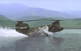 """WATER OPS by Dru Blair CH-47 Chinook Signed only 22 X 30"""" In stock and available - $65"""