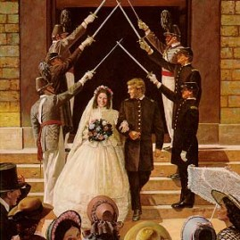 "WEDDING AT WEST POINT A couple is joined in marriage during the Civil War. Image size 23 X 18"" In stock and available Current price - $225"