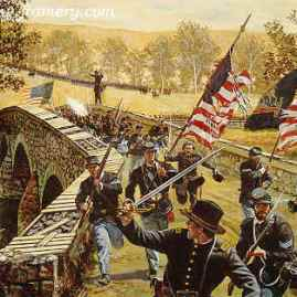 """WILL YOU GIVE US OUR WHISKY NOW?"" Members of the 51st Pennsylvania take the bridge at Antietam to earn a ration of ""whisky"" Sept. 17, 1862. Image size 18 X24"" In stock and available Current price - $175"