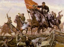 """WILSON'S CHARGE Gen. Wilson and his troops storm Confederate defenses at the Battle of Selma, Ala., April, 1865. Image size 17 X 22.5"""" In stock and available Current price - $195"""