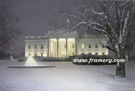 """WINTER'S EVE by Rod Chase The White House on a snowy evening Giclee on Canvas 30 X 45"""" $1600 Print on Canvas 24 X 36"""" $450 Print on Paper 30 X 20"""" $195"""