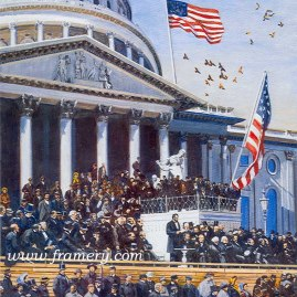 WITH MALICE TOWARD NONE... President Lincoln delivers his 2nd inaugural speech with John Wilkes Booth looking on. Image size 21.5 X 18.5 Current price - $150