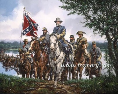 """WILLIAMSPORT CROSSING Gen. Lee leads Army across the Potomac into Maryland, June 25, 1863. S/N Classic Canvas Giclée Image Size 25"""" x 31"""" 1/4"""" Current price - Call"""