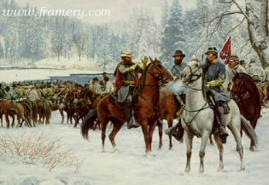 """THE CHRISTMAS RAID J.E.B. Stuart and the Southern cavalry cross Kellys Ford to conduct raids on Union troops and supplies. Image size 18 X 24"""" In stock and available Current price - $800 Special Price - $500"""