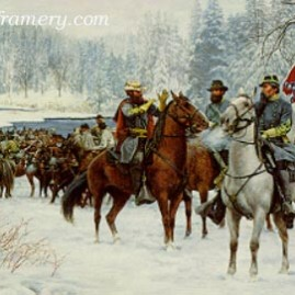 "THE CHRISTMAS RAID J.E.B. Stuart and the Southern cavalry cross Kellys Ford to conduct raids on Union troops and supplies. Image size 18 X 24"" In stock and available Current price - $800 Special Price - $500"