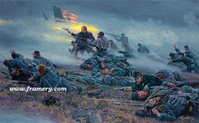 "COURAGE IN BLUE Chamberlain at Fredericksburg, Dec. 13, 1862. Image size 15"" X 23"" In stock and available Current price - Call"