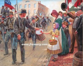 "ESPECIALLY FOR YOU Jackson's troops enjoy a victory parade in Winchester, Va. Image size 14 X 15"" In stock and available Current price - $125"