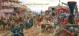 "JACKSON COMMANDEERS THE RAILROAD Valley Train Series #1, Martinsburg, Va, June 1861 Dismantled railroad equipment begins overland trek to Strasburg railhead. S/N print Image size:13 1/2 x 29 1/2"" In stock and available Current price: $200"