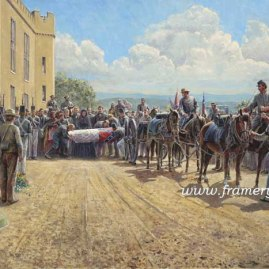 "LAST TRIBUTE OF RESPECT Gen. Stonewall Jackson's funeral at Virginia Military Institute, May 15, 1863 S/N Lim Ed Print Image size: 17"" x 29"" -Issue price: $225 Giclee on Canv Image size: 17"" x 29"" - Issue Price: $295"