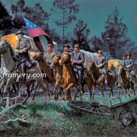"LEE TAKES COMMAND Jefferson Davis asks Robert E. Lee to take command of the Confederate Forces. Image size 16"" X 29"" In stock and available Current price - $200"