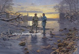"MY FRIEND, THE ENEMY Northern and Southern Soldiers share a peaceful exchange at the Rappahannock River, Va., December 25, 1862 Image size 18 x 26"" In stock and available Current price - $225"