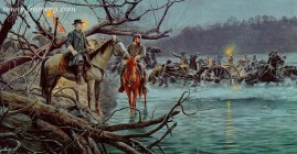 NIGHT CROSSING Lee and Jackson watch as their soldiers cross the Potomac River, Sept. 19, 1862. In stock and available Current price - $250