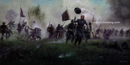 "ON THEY CAME WITH FLAGS FLYING BG Lewis A Armistead Pickett's Charge, Gettysburg, July 3, 1863 Image size 13.5"" X 30"" In stock and available Current price - $200"