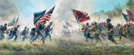 "WITH A REBEL YELL The Second Battle of Manassas, August 29, 1862 First print of the series Image size 12"" X 30"" Current price Call"