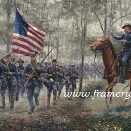"RUSH TO THE SUMMIT Gettysburg, July 1, 1863 COL Joshua Chamberlain leads his regiment to Little Round Top S/N Lim Ed 16 X 30.5"" In stock and available Current price - $225"