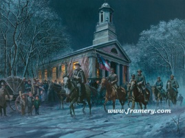 SOLDIER OF FAITH 2002 Snow Print Gen. Robert E. Lee leaving church, Orange, Va., Feb. 17, 1864 In stock and available Current price - $200