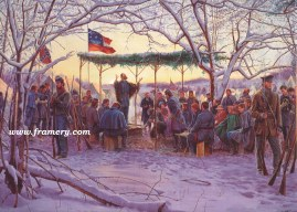 SUNRISE SERVICE A Confederate chaplain leads a service for soldiers and their families Image size 19 X 28 In stock and available Current price - $225