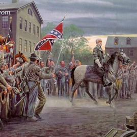 TWILIGHT IN GETTYSBURG Gen. Lee's triumphant ride after the first day of battle at Gettysburg, July 1, 1863. In stock and available Current price - $250