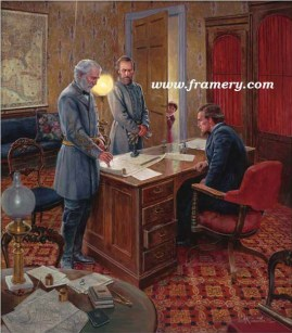 "WHITE HOUSE STRATEGY Generals Lee and Jackson meet with Pres. Jefferson Davis at the Confederate White House, July 13, 1862 Image size 22 X 19"" In stock and available Current price - $225"
